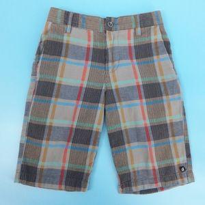 Volcom Boy's 8 Reg Colorful Gray Plaid Shorts
